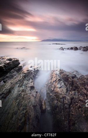 View of the Mounre Mountains from County Down coast. - Stock Photo