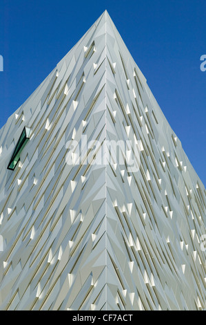 One of the 4 corners of the Titanic Belfast® visitor center, covered in Aluminum cladding, each represents the bow - Stock Photo
