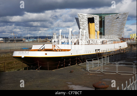 the refurbished ss nomadic tender for the titanic in titanic quarter belfast northern ireland - Stock Photo