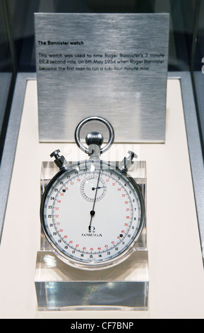 The Omega Bannister stopwatch, used to time Roger Bannisters under 4 minute mile, 1954 - Stock Photo