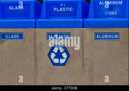 A line of recycling wheelie recycling bins sort different types of waste in USA - Stock Photo