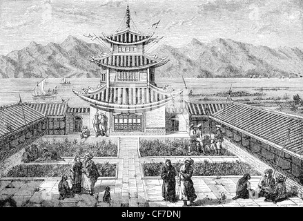 Yule's 'The Book of Marco Polo published in 1871 labeled this: Garden House on Lake Yun-nam-fu, Yachi of Polo (from - Stock Photo