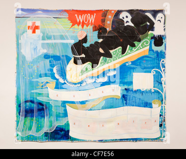 'Great America' 1994 Kerry James Marshall - acrylic and collage on canvas - Stock Photo