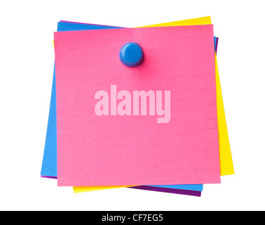 Stack of colorful sticky notes pinned together isolated on white background - Stock Photo