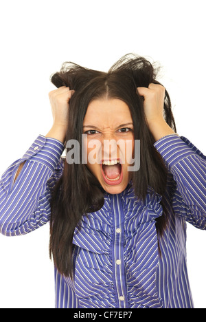 Nervous woman pulls her hair out and screaming isolated on white background - Stock Photo