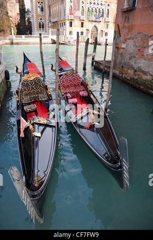 Two gondolas on the Canal Grande, Grand Canal, Venice, Veneto, Italy Europe - Stock Photo