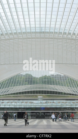 Forecourt of Liege Guillemins railway station - Stock Photo