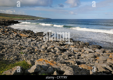 Surf on Fanore beach, Co. Clare, Ireland - Stock Photo