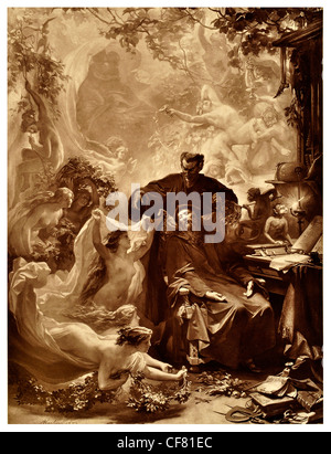 Faust  Johann Wolfgang von Goethe A tragedy 1870 period costume magical magic tale legend myth story drama theatre - Stock Photo