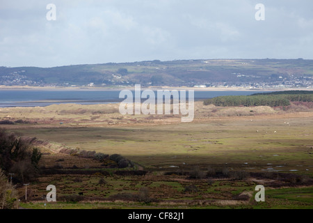 A view of the marshes and Loughor estuary from Llanmadoc on the North Gower Peninsular, West Wales. - Stock Photo