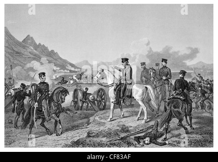Battle of Buena Vista General Zachary Taylor leads US forces victory over Mexican army under General Santa Anna - Stock Photo