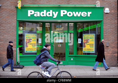 Paddy Power bookmakers in Newmarket, Suffolk. Paddy Power today reported full year financial results. - Stock Photo