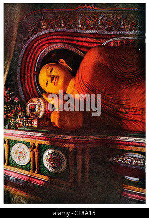 1926 Nirvana reclining Buddha Sri Lanka Ceylon - Stock Photo