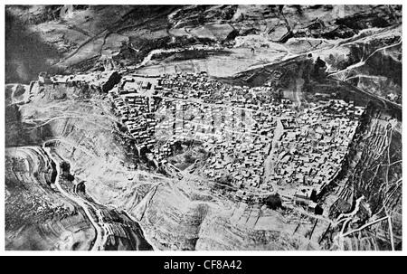 1926 El Karak Al Kerak  Jordan  crusader castle aerial view - Stock Photo
