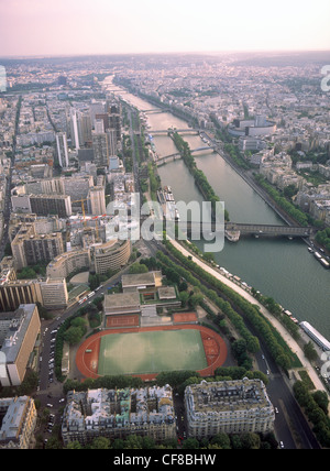 View on Paris from the Eiffel Tower. - Stock Photo