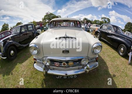 Bonnet of an Austin 7 taken at Thornfalcon Classic Car show - Stock Photo