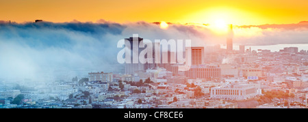 The foggy skyline of San Francisco, California, United States of America - Stock Photo