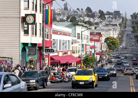 Gay Pride Rainbow Flags Flying in the Wind Over the Castro, San Francisco, California - Stock Photo