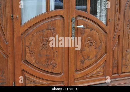 door of an old caravan of circus Bercy park Paris - Stock Photo