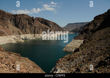 Lake Mead the source of the water that feeds the Hoover Dam in Nevada USA - Stock Photo
