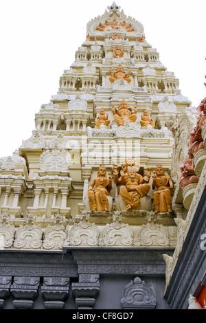 Sri Senpaga Vinayagar Hindu Temple Gopuram Tower by Ceylon Tamil in Singapore - Stock Photo