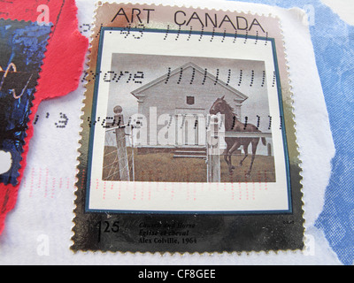 Detail of a franked  Canadian postage  stamp celebrating artists and their work  - Art Canada. - Stock Photo