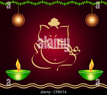 Indian God Ganesha with lamps and decoration - Stock Photo