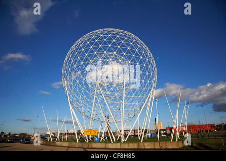 rise sculpture by wolfgang buttress nicknamed the westicles and balls on the falls on broadway roundabout Belfast - Stock Photo