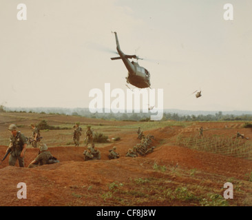 Operation Masher Bong Son, RVN Troops of the 1st Air Cav Div (Air Mobile) await movement by helicopter for assault - Stock Photo