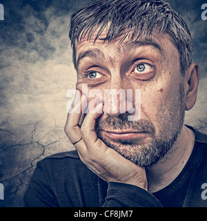 portrait of a man who thinks about life - Stock Photo
