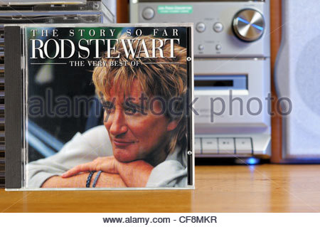 The Story So Far - The Very Best Of Rod Stewart album case in front of a CD player, England - Stock Photo