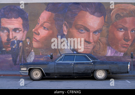 Mural, Hollywood, Los Angeles, California, USA, United States, America, Hollywood stars, painted wall, icons, american - Stock Photo