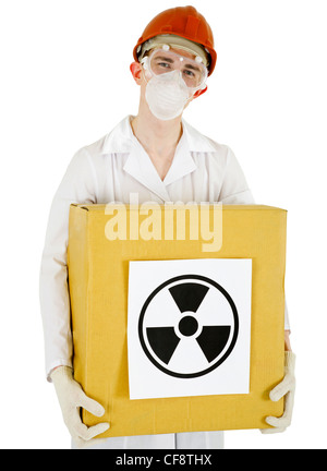 A scientist with a radioactive box isolated on white background - Stock Photo