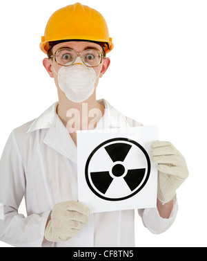 The scientist - a chemist with the sign of radiation in the hands - Stock Photo