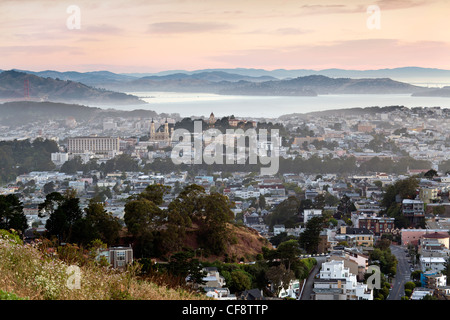 San Francisco Skyline viewed from Twin Peaks, San Francisco, California, United States of America - Stock Photo