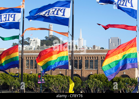 Gay Pride Rainbow Flag Flying in the Wind Over the Castro, San Francisco, California - Stock Photo