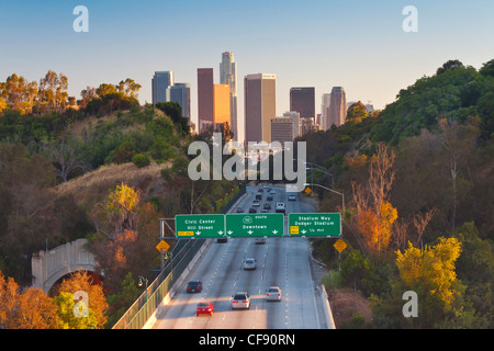 Pasadena Freeway (CA Highway 110) Leading to Downtown Los Angeles, California, United States of America - Stock Photo