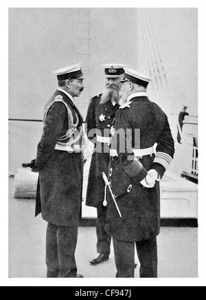 Wilhelm II William II German Emperor Kaiser King Grand Admiral Alfred von Tirpitz Henning von Holtzendorff - Stock Photo