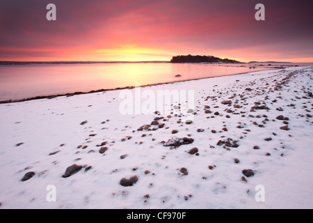 Beautiful winter morning by the Oslofjord, at Larkollen in Rygge, Østfold fylke, Norway. - Stock Photo