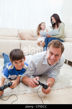 Family enjoys spending their spare time together - Stock Photo