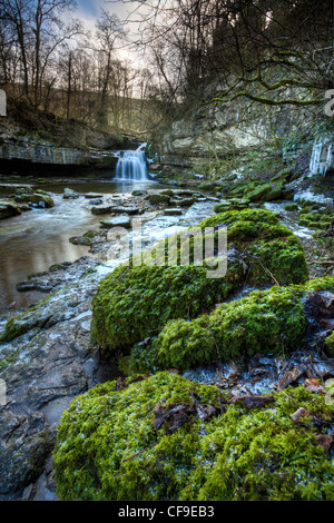 West Burton Falls in winter also known as Cauldron Falls, Wensleydale, Yorkshire Dales - Stock Photo