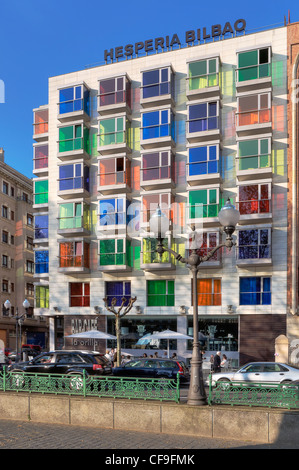 Building with multi-colored glass windows in the Hesperia Bilbao hotel, in the old town of Bilbao, Basque Country, - Stock Photo