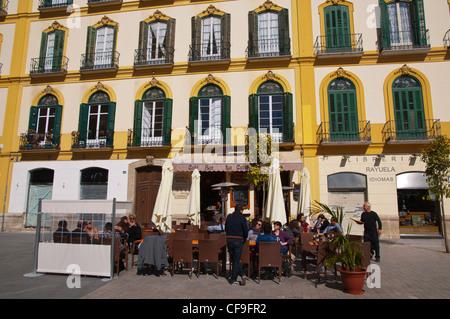 Bar restaurant terraces at Plaza de la Merced square central Malaga Andalusia Spain Europe - Stock Photo