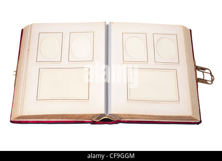 old vintage photo album with six pictures isolated on white - Stock Photo