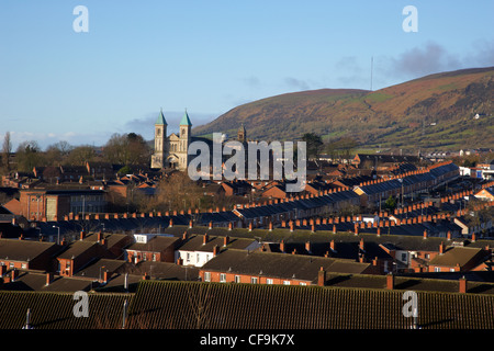 View over the Catholic enclave Ardoyne area of North Belfast Belfast Northern Ireland UK - Stock Photo