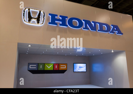 HOUSTON - JANUARY 2012: The Honda display at the Houston International Auto Show on January 28, 2012 in Houston, - Stock Photo