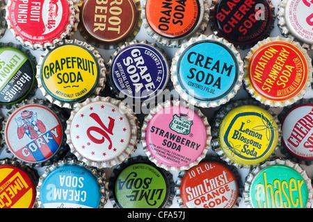 Retro American Soda bottle caps - Stock Photo