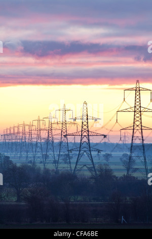 Electricity Pylons, North Yorkshire. - Stock Photo