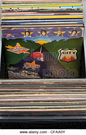 Bay City Rollers, Once Upon A Star album, Box of secondhand LP records, England - Stock Photo
