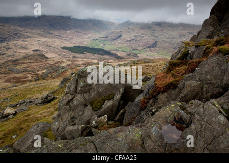 Wrynose Pass and Hardknott Pass as seen from the summit of Harter Fell, Lake District, Cumbria - Stock Photo